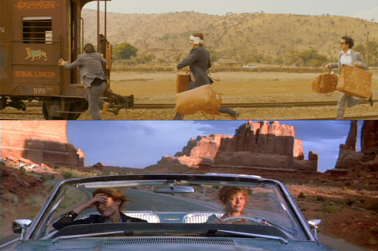 Excess baggage: With their Louis Vuitton luggage, brothers Jason Schwartzman, Owen Wilson and Adrien Brody rush to catch their train in The Darjeeling Limited. Lasses on the lam:  Geena Davis and Susan Sarandon bond during their road trip in Thelma and Louise.