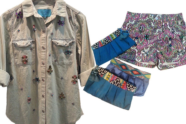 Two Chic's beaded shirts, shorts, bags and more