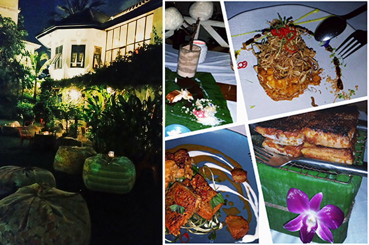 Issaya Beach Club exteriors and food such as banana heart salad and spiced pork ribs