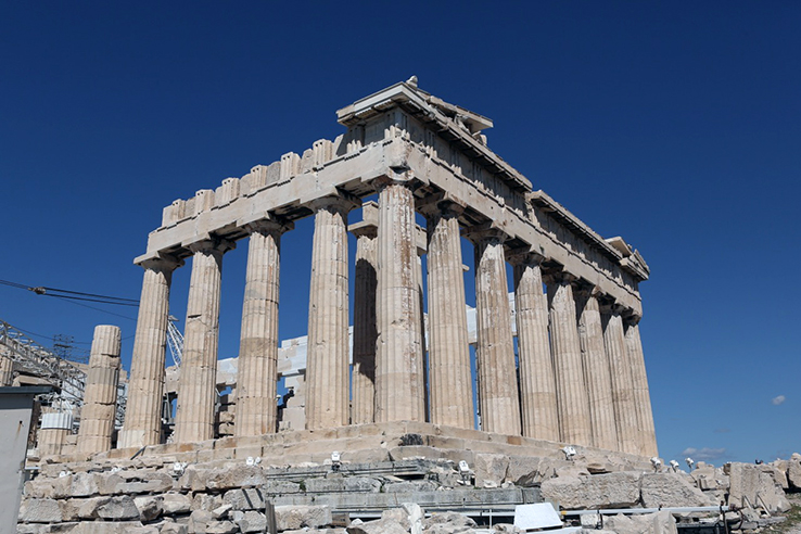 The Southern Wall of the Parthenon that has been on restoration since the early 2000s