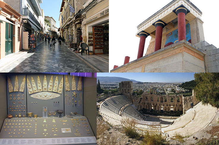 Plaka in Athens, a short walk from the Acropolis; Palace of Knossos, the center of Minoan Civilization; Odeon of Herodus Atticus is still an outdoor concert venue today; Minoan treasure from the Neolithic Age, 2700BC at the National Museum