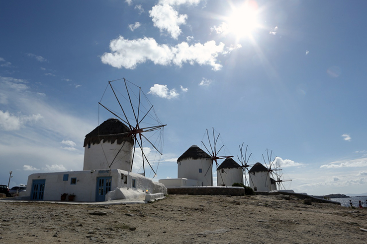 The famous windmills of Mykonos. Best to see them at sunset