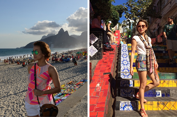 """Girl From Ipanema"" - Fun vibrant prints anchored by breezy white solids is the perfect combination to samba around the streets of this brazilian metropolis. Stephanie is pictured on Ipanema beach and Escadaria Selaron in Rio de Janeiro, Brazil"