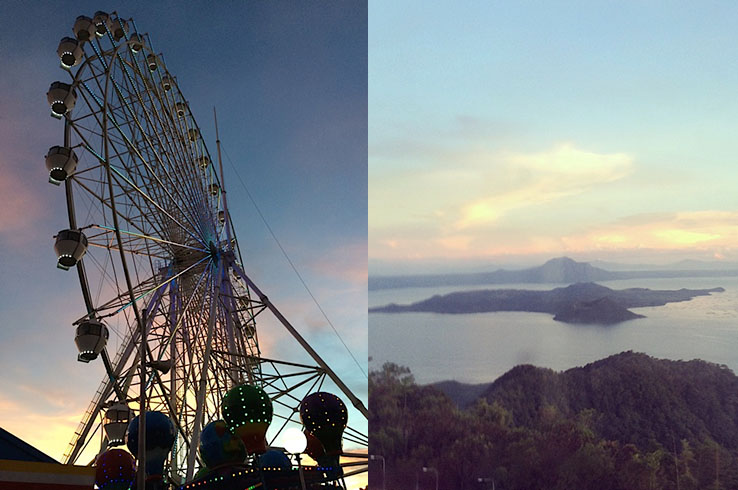 View of the sunset from the Tagaytay Eye at Sky Ranch; Taal Volcano at sunset