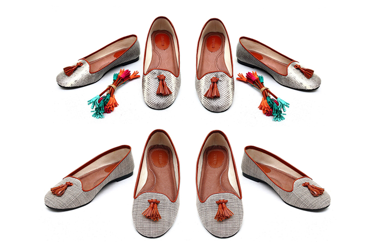 The Colombo flats in natural snakeskin and also Ilocos inabel fabric