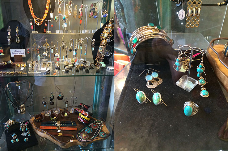 Find jewelry featuring semi-precious stones like turquoise at Om
