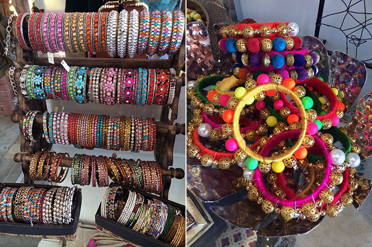 Assorted bangles of every color and bling