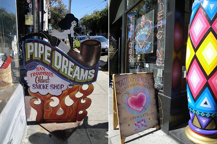 Head shops and tattoo parlors along Haight St