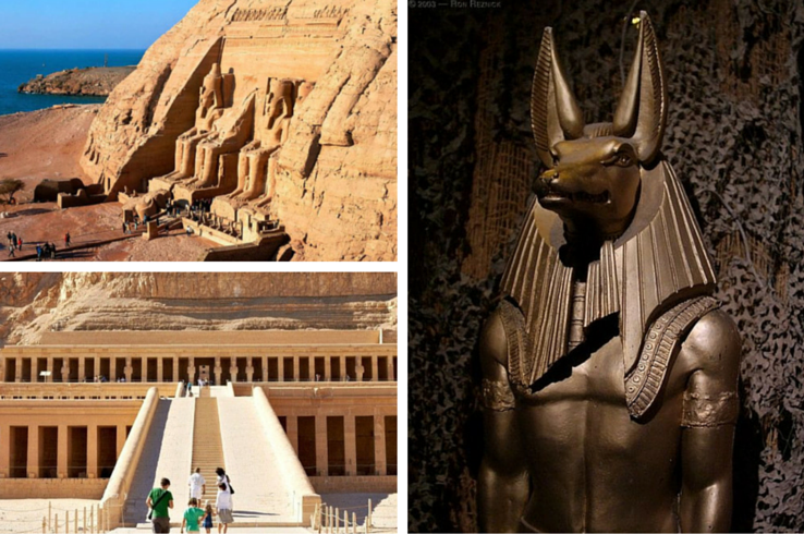 Top: The Valley of the Kings--the final resting places for Egyptian royalty. Bottom: Temple Of Queen Hatshepsut, Near The Valley Of The Kings. Right: Anubis, the god of mummification. (Photo sources: Pinterest)