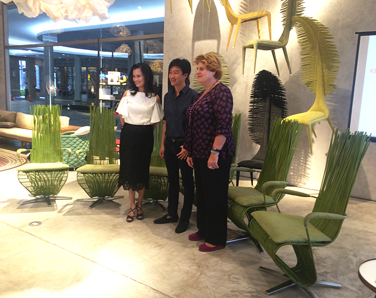 Daphne, Kenneth and Lotta during the press conference at Kenneth's showroom