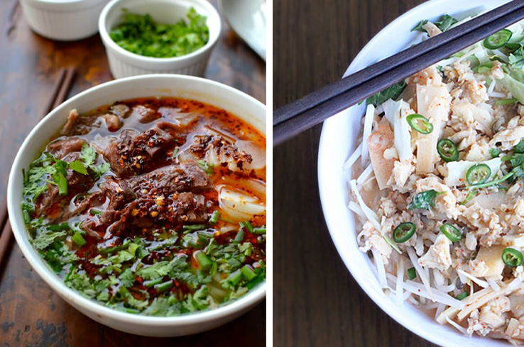 lanzhou beef noodle and khao poon