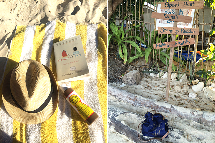 "Beach essentials: a hat, a book, tanning stuff and a roomy bag that says ""Blame it on my Gypsy Soul"""