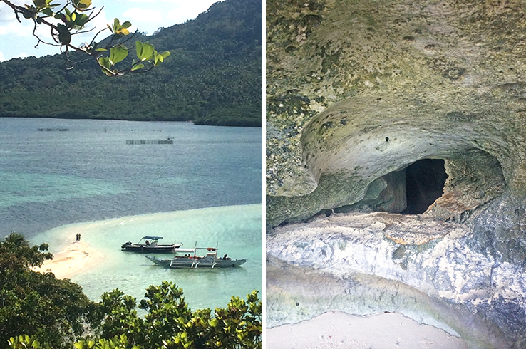 Checking out Snake Island; can you fit through that cave hole?