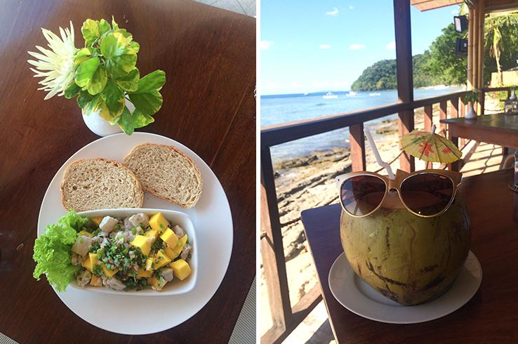 Fresh taningue kilawin and a sassy fresh coconut at Cadlao Resort & Restaurant