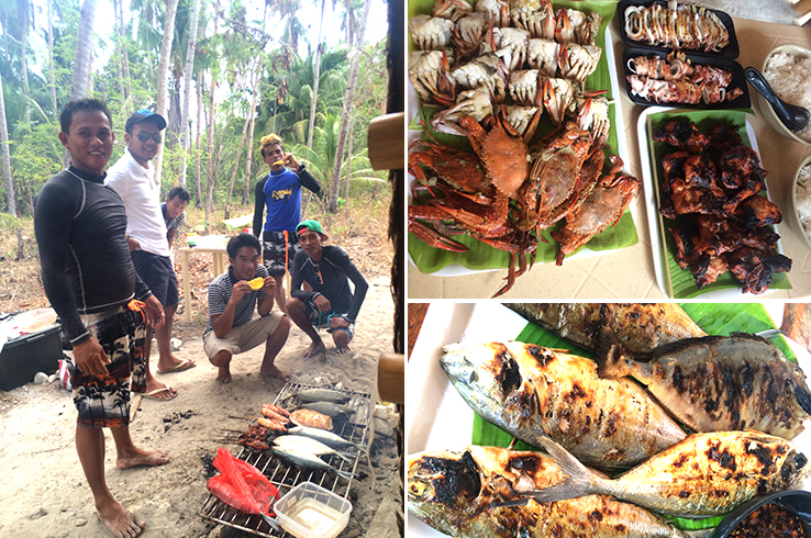 Our crew; fresh crabs and grilled chicken; grilled local fish