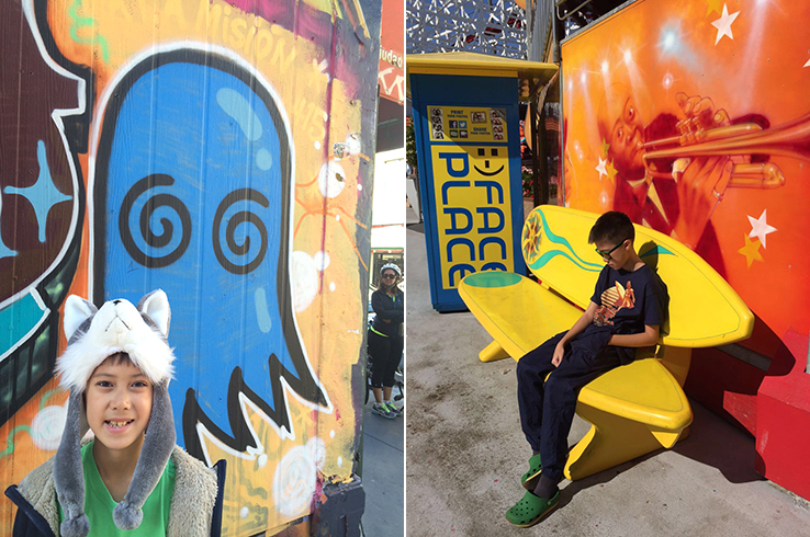 Two moods: one in Clarion Alley and the other at the Santa Cruz Boardwalk