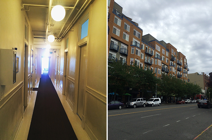 A matter of perspective: Ace Hotel hallway and a view of Belltown